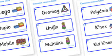Sapphire Blue Themed Editable Construction Area Resource Labels