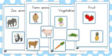 Fruit Vegetables Farm Animals And Zoo Animals Sorting Activity No Visual Support