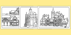 The Great Fire of London Medieval Houses Colouring Sheets