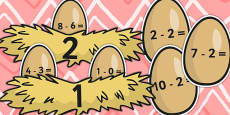 Eggs and Nest Themed Subtraction From 10 Activity