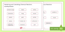 * NEW * OCR Gateway Combined Science Monitoring and Controlling Chemical Reactions Word Mat