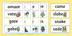 Phase 5 'a-e' Split Digraph Flashcards Real and Nonsense Words
