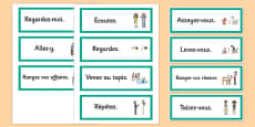 French Classroom Word Cards