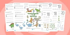 Number Formation Workbook Dinosaurs Romanian
