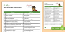 French Articles Match-Up Activity Sheet