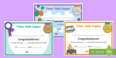 Times Table with Division Zapper Certificates