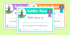 Sports Day Toddler Race Certificates
