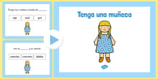 Tengo una muñeca Nursery Rhyme Complete The Lyrics PowerPoint Spanish