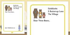 Goldilocks to the Three Bears Letter Writing Frames