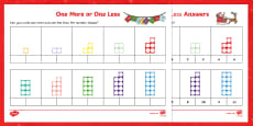 One More or One Less Christmas Themed Number Shape Activity Sheets