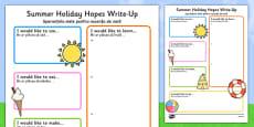 Summer Holiday Hopes Write Up Activity Sheet Romanian Translation