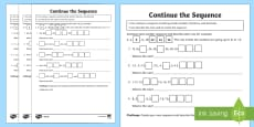 Continue a Sequence Using Whole Numbers, Decimals and Fractions Differentiated Activity Sheets
