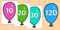 Counting in 10s on Balloons