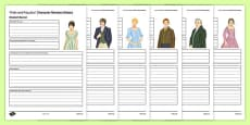 Pride and Prejudice Character Revision Activity Sheet Pack