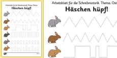 Bunny Hop Pencil Control Activity Sheets German