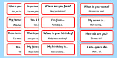 Basic Phrases Word Cards Polish Translation