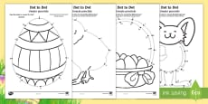 * NEW * Easter Dot to Dot Activity Sheets English/Romanian