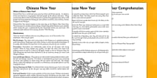 Chinese New Year Differentiated Reading Comprehension Activity