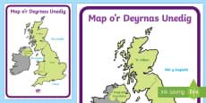 * NEWYDD * Map o'r Deyrnas Unedig