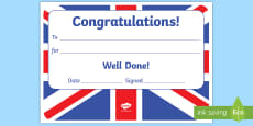 Union Jack Themed Editable Certificates