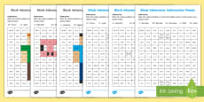 KS1 Block Adventurer Subtraction Mosaic Activity Sheets