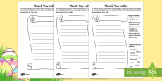 * NEW * Saving Easter Writing a Thank You Letter Activity Sheets