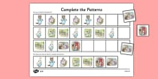 Beatrix Potter - The Tale of Tom Kitten Complete the Pattern Activity Sheets