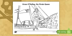Grace O'Malley, the Pirate Queen Colouring Page