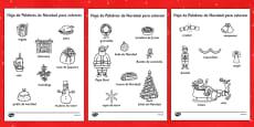 Hojas de colorear - Palabras de Navidad