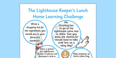 Home Learning Challenge Sheet Reception FS2 to Support Teaching on The Lighthouse Keeper's Lunch