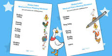 Chicken Licken Word and Picture Matching Activity Sheet