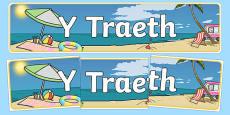 Beach Themed Banner Welsh
