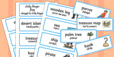 Pirate Word Cards Romanian Translation