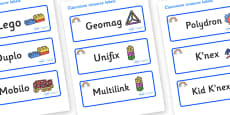Rainbow Themed Editable Construction Area Resource Labels