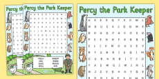 Word Search to Support Teaching on Percy The Park Keeper