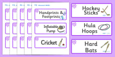 Purple Themed Editable PE Resource Labels