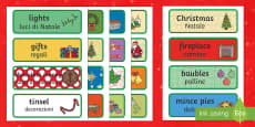 Decorative Christmas Word cards English/Italian
