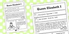 Elizabeth I Significant Individual Fact Sheet