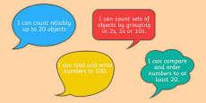 Numeracy Statements I Can on Speech Bubbles Year 1 and 2