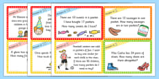 Multiples of 2, 5 and 10 Word Problem Challenge Cards