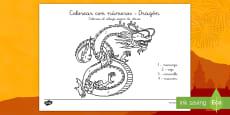 Colorear con números: Dragón - Año nuevo chino
