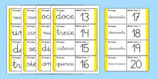 Tarjetas de buscar y emparejar Números de 1 a 20