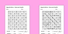 Colours Wordsearch Portuguese Translation