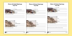 Places of Hindu Pilgrimage Fact File Writing Frames Differentiated