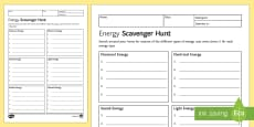 Energy Scavenger Hunt Homework Activity Sheet