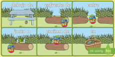 Easter Egg Positional Language Display Posters - Spanish