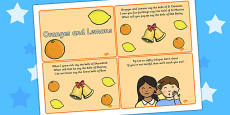 Oranges and Lemons Sequencing Cards