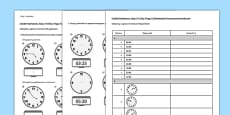 KS2 Reasoning Test: Practice, Read, Write and Convert 24 Hour Times Polish