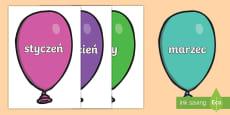 * NEW * Nazwy miesięcy na balonach
