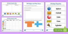 Propertes of 3D Shapes Activity Sheet Pack